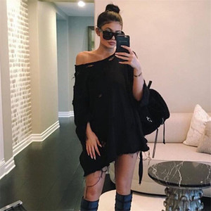 Wholesale Hot Solid Color Bat Sleeves Sweatshirt Hole Sets Of Head Shirt Autumn Round Neckline Sexy Blouse T0782