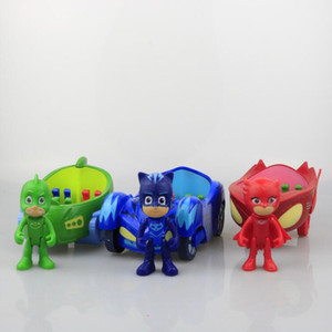 Wholesale 3pcs doll with inch car Pj Characters Catboy Gekko Cloak Action Figure freddy Toys Boy Gift Plastic Mask brinquedos