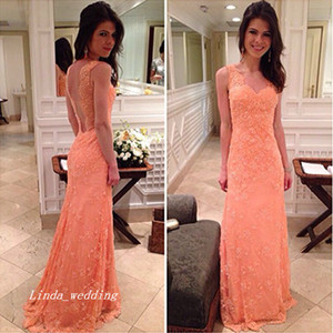 Wholesale Free Shippin Elegant Salmon Coral Color Nice Mermaid Long Sleeveless Backless Lace Prom Dress Party Gown
