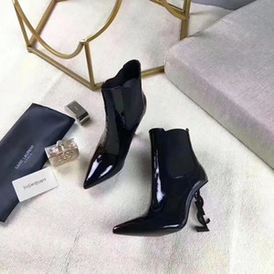 Wholesale Brand Designer Womens Fashion Boots Patent leather High heels Pointed toe Female T Show Boot