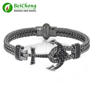 Wholesale BC Fashion Atolyestone Artillery Anchor Bangel Made of Silver Wire Braids Stainless Steel Magnestic Clasp Bracelet Bangle Men Jewelry