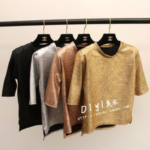 Wholesale Korean fashion new women s punk club hot short sleeve gold silver black bling paillette shinny shirt tee tops