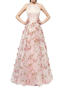 Wholesale New Arrival Pink Flower Floral Party Dresses 2018 Chiffon Ball Gowns Halter Neck Long Prom Dress Evening Formal Dress Robe De Soiree ..