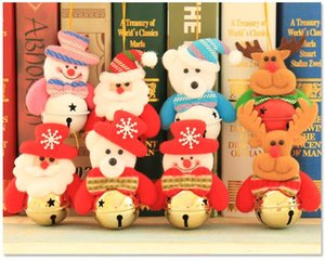 Wholesale Christmas tree bell pendant Snowman Elk Santa Claus Doll Xmas Tree Hanging Ornament Merry Christmas Gift