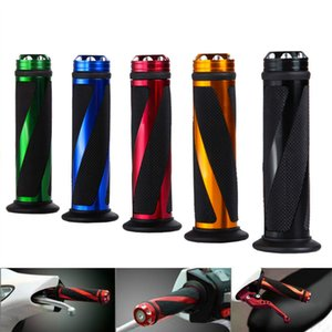 "1 Pair Universal Motorcycle Aluminum Grip None-Slip Gel Rubber Handlebar 7 8"" Motorbike Handle Grips for Moto Motocross"