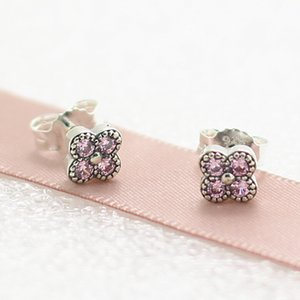 Wholesale New High quality Fashion Jewelry Sterling Silver European Pandora Charm Jewelry Oriental Blossom with Pink CZ Stud Earrings