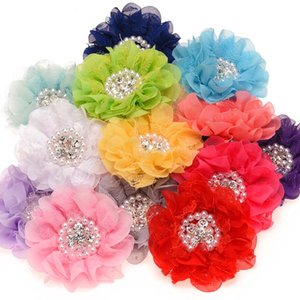 Wholesale 32pcs Crystal Rhinestone Cluster Satin flowers Baby Flowers for Newborn Pearls Cluster Flowers Little Girls Hair Accessories