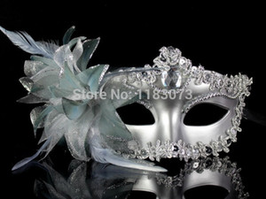 10pcs lot High quality Noble Elegant Sexy Italy Venice Princess Masks Women Masquerade Party Mask with flowers Free Shipping