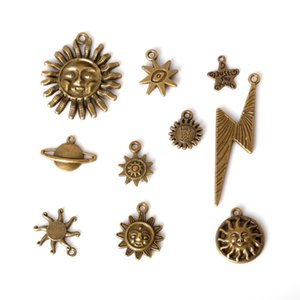 Wholesale zinc alloy sun pendants for sale - Group buy New Mixed Style Zinc Alloy Antique Bronze Plated Sun Star Charms Pendants Diy Jewelry Handmade Crafts jewelry makin