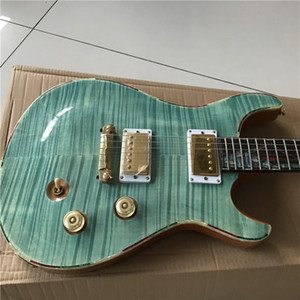 New! light Blue maple stick to leather, Electric Guitar free shipping,Factory direct marketing, can be mass customization