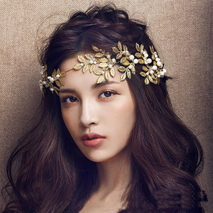 Bride Crown Gold Leaves For Wedding Accessories Top Quality Korea Style Wedding Hair Jewelry Crown Accessories Party Tiara Jewelry Headband