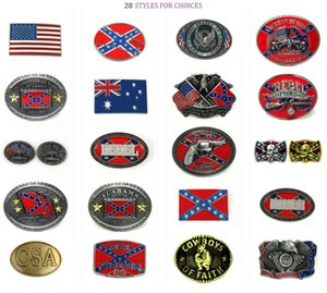 Wholesale 28 styles Confederate Southern South Rebel Dixie Flag CSA Skull Army Big Belt Buckle Buckles High Quality