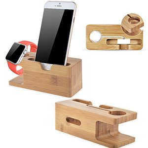 Wholesale Vogue Safety Charging Holder Stand Bamboo Wood Base Bracket Docking Mount for Apple Watch iPhone Plus s s Plus