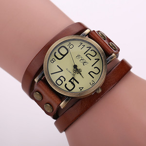 Wholesale 2016 Popular Ladies Rivet Punk Chain Belt Bracelet Watch Hot Retro Wide Leather Watch Quartz Women Watch Men Watch