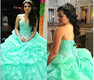 Wholesale Mint Green Quinceanera Dresses Sweetheart Crystals Beaded Organza Tuched Ball Gown Lace Up Back Sweet Prom Dresses Plus Size