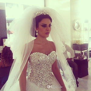 Luxurious Ball Gown Wedding Dresses Real Pictures Lace Appliques Princess Wedding Gowns Off the Shoulder Bridal Gowns