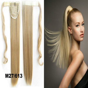 Wholesale-1PC 22inch 90g Synthetic Long Straight Clip In Ribbon Ponytail Hair Extension hairpiece pony Tail Hair Pieces