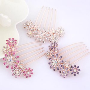 Bridal Crystal Pearl Hairclips Stunning Full Rhinestone Flower Pearl Hair Combs Hairpins for Women Bride Wedding Party Jewelry