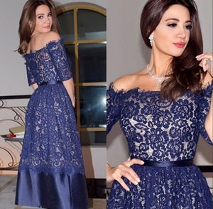 Blue Half Short Sleeve Tea Length Short Prom Dresses 2017 Full Lace Off the Shoulder Zipper Back A Line Formal Cocktail Party Gowns on Sale