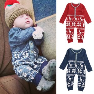Wholesale 2016 Xmas Deer Baby Boys Girls rompers Infant Knit Romper christmas perfect gift kids Jumpsuit Bodysuit cotton Clothes Outfits