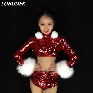 Wholesale New red sequins sets female jazz DJ costumes Nightclub leading dance Teams performance suit cheering squad stage DS show outfit sexy costume