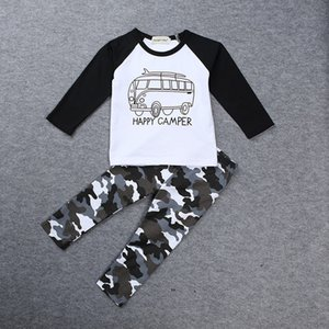 INS Boys Casual Clothes Baby cartoon car Tops Letters T-shirt+Geometric Camouflage pants 2pcs set cotton suit free shipping C1434