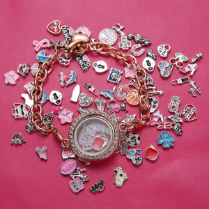 Wholesale 2016 Round DIY Locket bracelets Stainless Steel glass floating locket bracelet With Rhinestones colors waterproof memorial locket