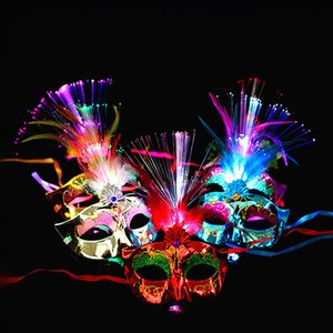 Wholesale Women Venetian LED Fiber Light up Mask Masquerade Fancy Dress Party Princess Feather Glowing Masks masquerade masks