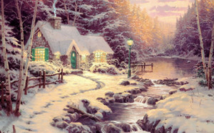 Wholesale Thomas Kinkade Lyric Landscape Oil Painting Reproduction High Quality Giclee Print on Canvas Modern Home Art Decor TK024