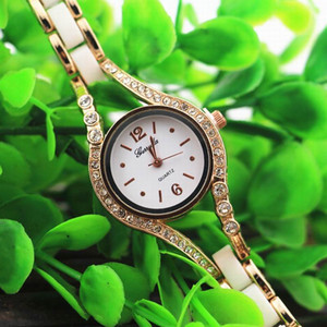 Wholesale gold plate alloy case with crystal deco copy ceramic band quartz movement gerryda fashion woman lady bracelet ceramic watches