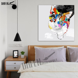 Wholesale Happy Cat Handpainted Animal Oil Paintings Funny Cartoon Picture Paint on Canvas Modern Wall Art Home Decoration