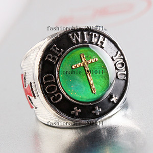 Wholesale Oversize Cross Color Finger Changing Silver Plated MAN Mood quot God Be With You quot MANS Rings FREE
