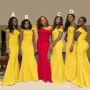 Wholesale African Popular Mermaid Nigerian Bridesmaid Dresses Elegant Custom Made Sweetheart Off Shoulder Taffeta Long Bridesmaid Gowns Free Shipping