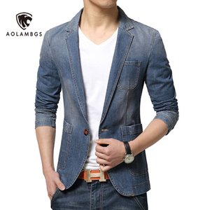 Wholesale Denim blazer men slim fit jean suit jacket new spring korean fashion causal mens blazer jackets trend brand demin suits