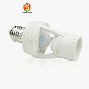 Wholesale AC V Degrees W PIR Induction Motion Sensor IR infrared Human E27 Plug Socket Switch Base Led Bulb Light Lamp Holder
