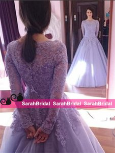 Wholesale 2019 Princess Cinderella Style A Line Ball Dance Evening Dresses for Girls Occasion Sale Cheap Sheer Long Sleeves Graceful Lace Prom Gowns