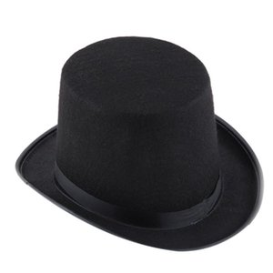 Wholesale-Halloween Magician Magic Hat Jazz Hat Black Black Satin Cape Halloween Outfits For Adults#B725