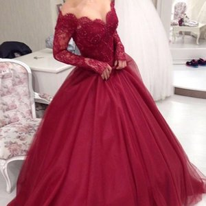 Wholesale Modest Long Prom Dresses Burgundy Ball Gown Off the Shoulder Illusion Long Sleeves Beaded Lace Top Soft Tulle Evening Party Gowns
