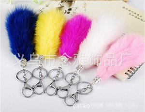 Set auger plush fur Keyring Tail Rabbit Long Lucky Charm Faux Fur Cute Soft Fluff Handbag Charms car keychain pendant Festival party gift