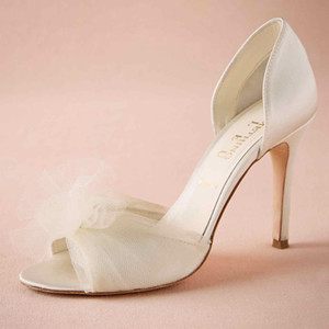 Wholesale Ivory Tulle Flower Wedding Shoes Made to order Wedding Pumps Satin Upper Slip ons Party Dance quot High Heels Women Sandals Wrapped Heel