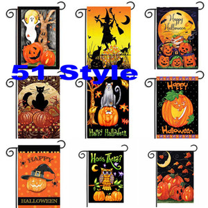 ingrosso bandiere del giardino-30 cm Halloween Garden Flags Pumpkin Ghost Party Home Decor Outdoor Appeso Poliestere Bandiere Giardino Poliestere Decorazioni di Halloween WX9