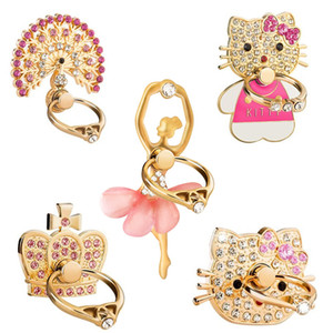 Wholesale Metal Universal Degree Pink Peacock Crown Cat Rabbit Crystal Finger Ring Holder Phone Stand For Mobile Phones Multi style