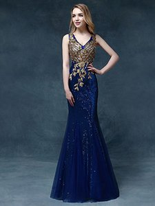 Wholesale 2016 new V-neck Mermaid Pageant Dresses embroidery applique crystal catwalk Evening Dress Sequin lace sexy Prom Gown Plus Size