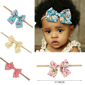 Wholesale 10 Boutique Nylon Headband With Fabric Hair Bow For Baby Girls Hair Accessories Baby Nylon Elastic Headband