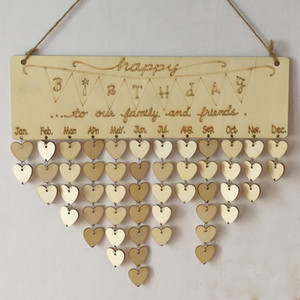 Wholesale Novelty Home Decor Happy Birthday Wooden Hanging Reminder Festival Plaque Sign Board Calendar with Heart Chips Family and Friends Gift