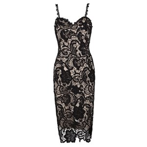 Sexy Lace Dress Female Pspective Oenwork Slim Formal Evening Prom Dresses for Women Deep-V-neck Parisia Black Nude Lace Midi Dresses W2814