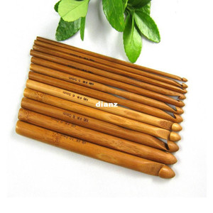 Wholesale 12pcs set Sweater knitting Circular Bamboo Handle Crochet Hooks Smooth Weave Craft Needle Size