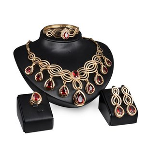5pcs set African Bridal Jewelry 18k Gold Plated Red Crystal Statement Necklace Rings and Earrings Sets Dubai Wedding Jewelry Set for Women