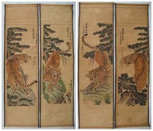 Wholesale Old Chinese painting scroll Tiger Jiang Tingxi tigers Antique paintings four tiger Archaize do old ancient paintings
