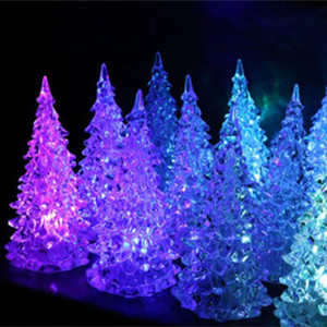 Wholesale 13cm Acrylic Colorful Crystal Christmas Tree LED Table Lamp Light Xmas Decoration Festival Party Creative Xmas Gift